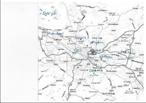 Kartta 1: Glasgow'n kartta. (Lähde: Karttapohja Google Mapsista. http://maps.google.fi/maps?ct=reset&tab=ll)